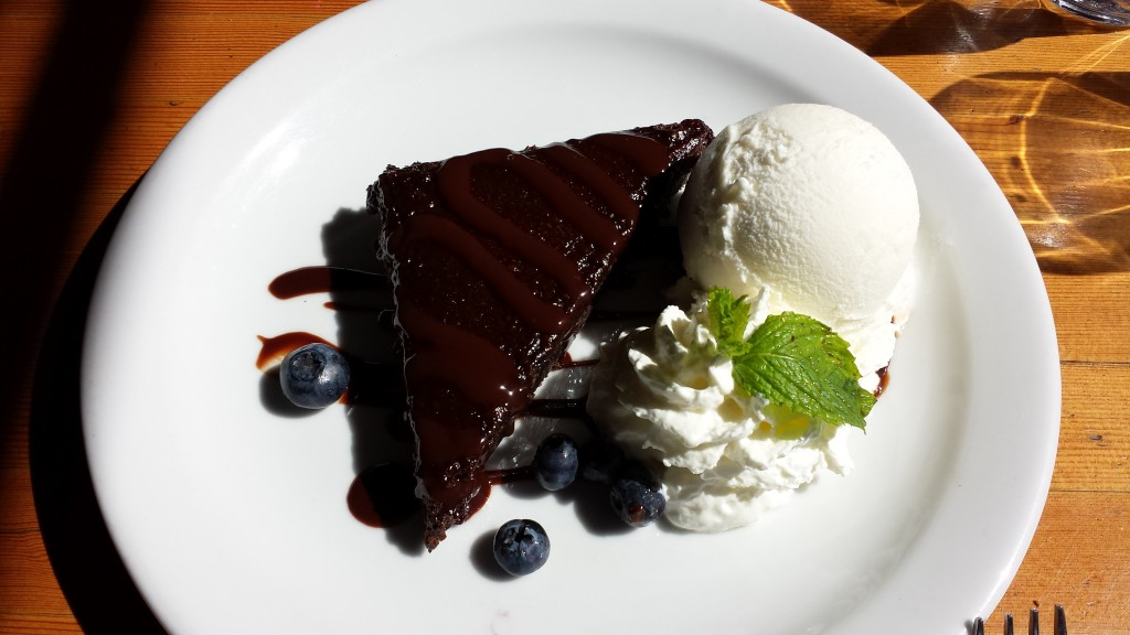 Chocolate Brownie at Flatbread Pizza Co. in Canmore. Go ahead, you earned it.