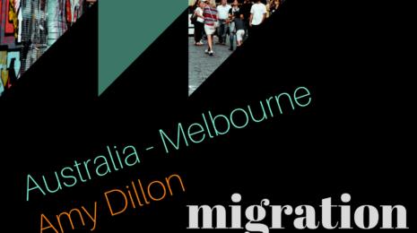 Migration Patterns Podcast logo feat. Amy Dillon, Australia-Melbourne